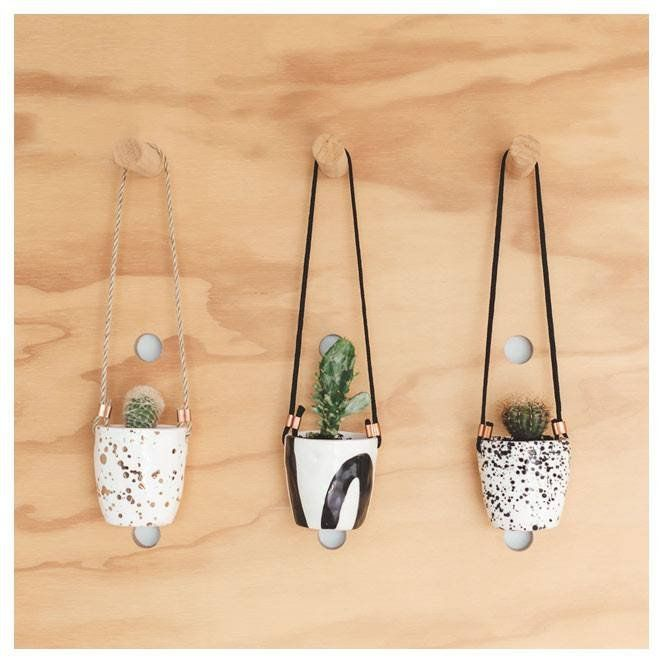 JS Ceramics Hanging Planter Cup - Splatter Black | Koop.co.nz