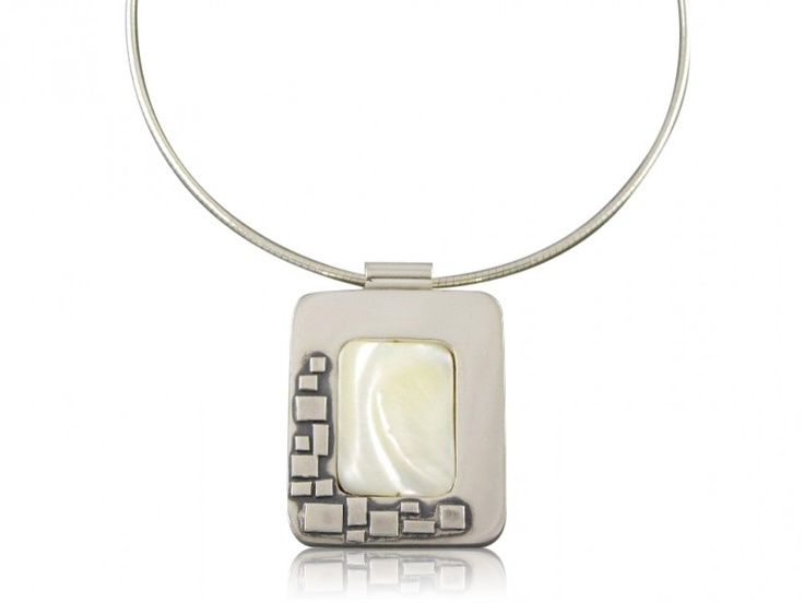 Silver handmade pendant with mother of pearl