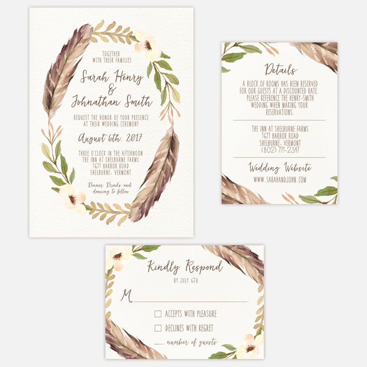 Printable Wedding Invitation Suite / Bohemian / Feathers / Earthy Wedding by MariaDdesigns on Etsy https://www.etsy.com/listing/272741080/printable-wedding-invitation-suite #weddinginvite #bohemian #invitation #feathers #natural #woodland #bohowedding #Mariaddesigns