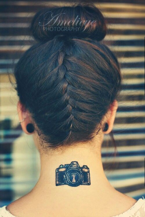 camera tattoo for back of neck