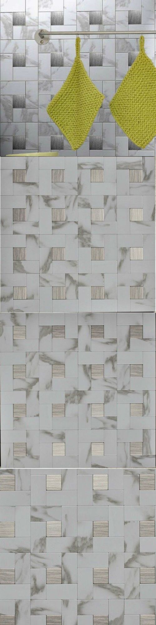 Other Wallpaper 52348: Self Adhesive Wall Tiles Peel And Stick Backsplash Kitchen Grey Gray White 6Pc -> BUY IT NOW ONLY: $79.91 on eBay!