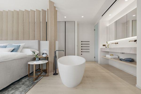 Twelve Contemporary Villa Project In Santa Ponsa Exclusive Villas Apartments An Open Plan Bathroom Design Open Plan Bathrooms Contemporary Bathroom Designs