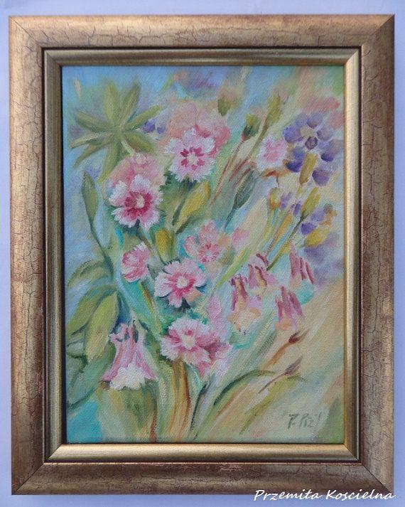 FLOWERS Small oil painting Impresjonistic Framed by CanisArtStudio #flowers #painting #framed #art #canisartstudio