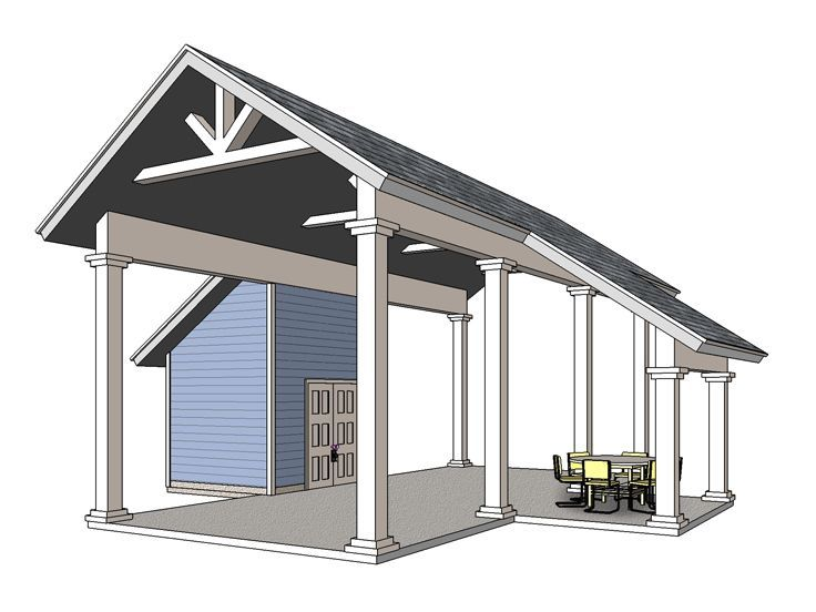006G-0161: RV Carport Plan with Storage and Covered Porch