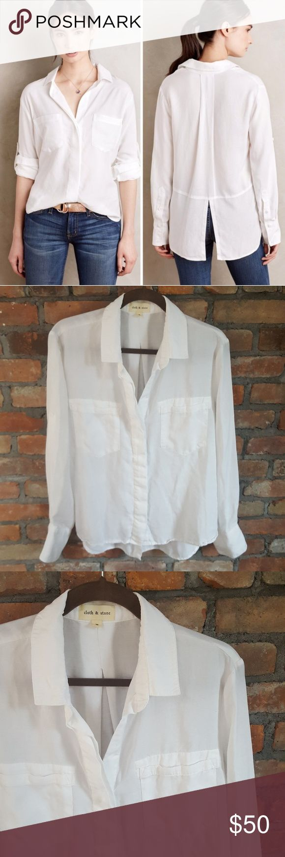 Cloth & Stone Blouse Cloth & Stone white split back tencel button down blouse.  Machine washable.  Concealed button front.  Spread collar.  Two breast pockets.  Rolled tab sleeves.  High low hem.  Excellent condition. Anthropologie Tops Button Down Shirts
