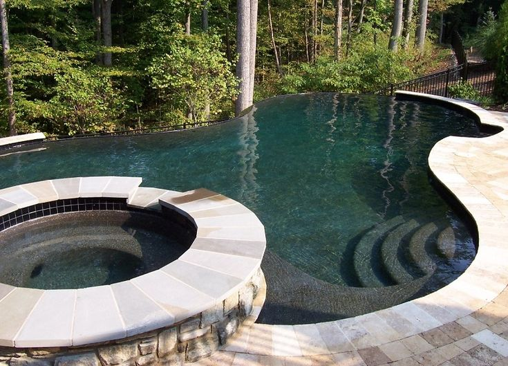 Vanishing Edge Pool, Infinity Edge Pool, Pebble Tec Black Pearl, Davidsonville, Maryland, Raised Spa, Water Feature, Wall Fall, Sheer Descent, Bench