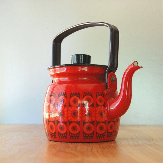 Vintage Finel Arabia Red Daisy Enamel Tea Pot  by DipperVintage, $110.00