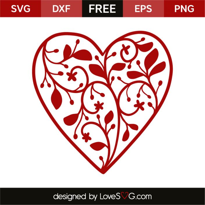 *** FREE SVG CUT FILE for Cricut, Silhouette and more *** Floral heart