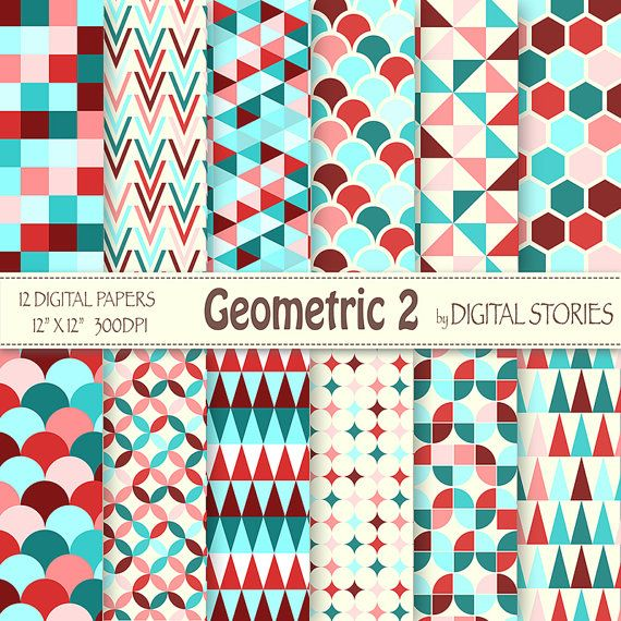"Geometric Digital Paper: ""GEOMETRIC RED TURQUOISE"" Geometric Patterns, triangle honeycomb for scrapbooking, cards, invites"