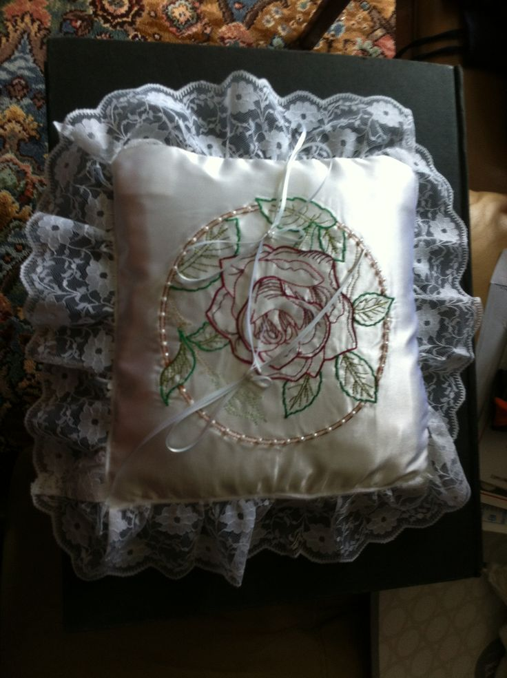 Wedding ring cushion, hand made and can be personalised £20 + postage