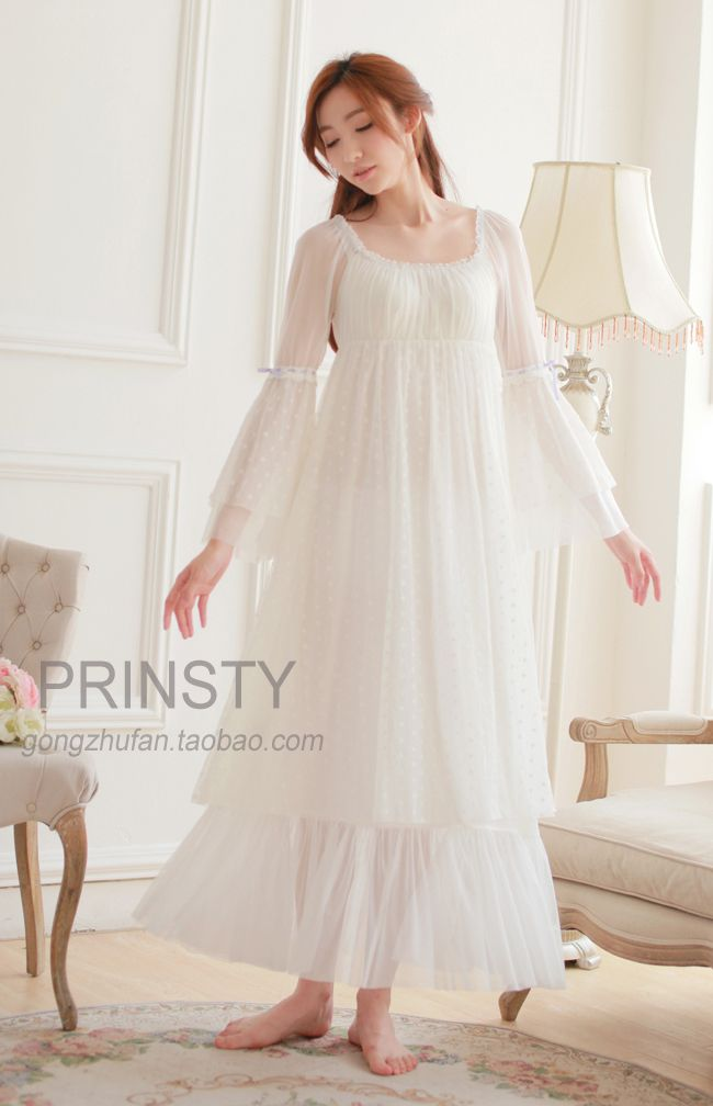 Free Shipping 100% Cotton Princess Nightdress Women's Long Nightgowns White Lace Sleepwear