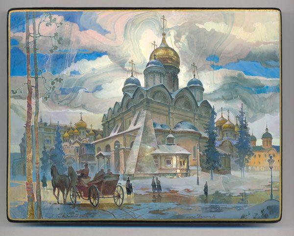 Michail Shelukhin, Lacquer box from Fedoskino, Place de la Cathédrale du Kremlin de Moscou.