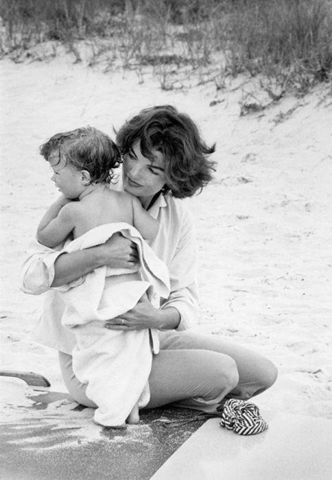 Jackie and JFK, Jr. on the beach