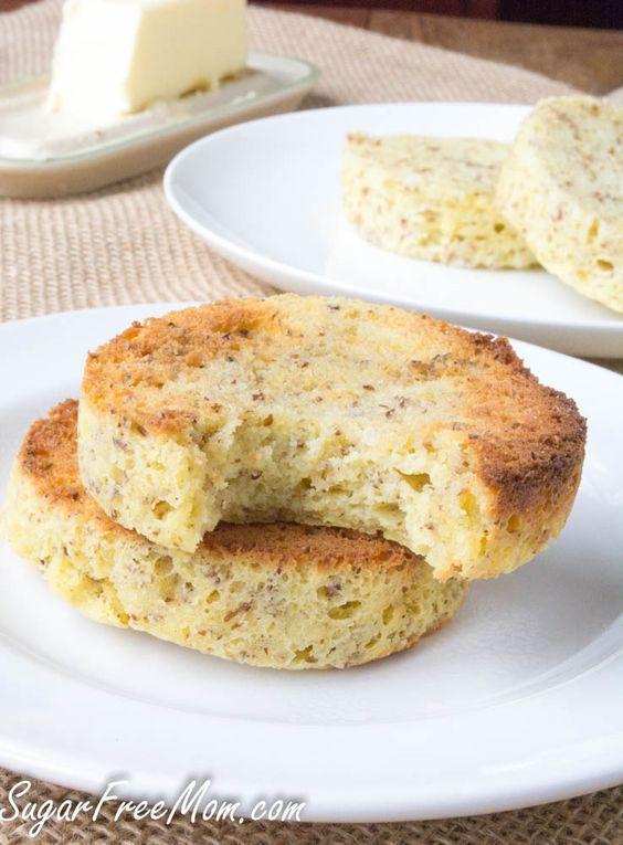 1 minute low carb cinnamon (nut free) english muffin- gluten free, grain free- sugarfreemom.com
