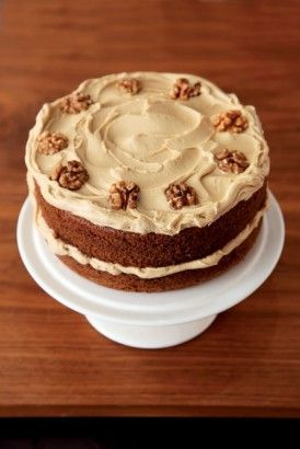 Nigella's coffee and walnut layer cake. Rose like a dream and stayed moist for days. I actually used the cake recipe to make about a dozen cappuccino cupcakes- just topped them with white chocolate frosting (lovely recipe pinned on my board) and sprinkled them with dark drinking chocolate. Heaven! #crazycatcoffee