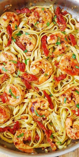 Shrimp Scampi Pasta with Sun-Dried Tomatoes
