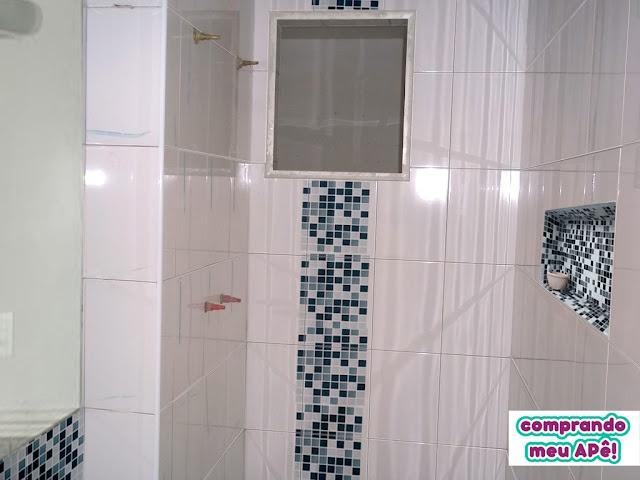 Nicho para o banheiro com pastilhas  Dicas de decoração  Pinterest -> Nicho Do Banheiro Com Pastilha