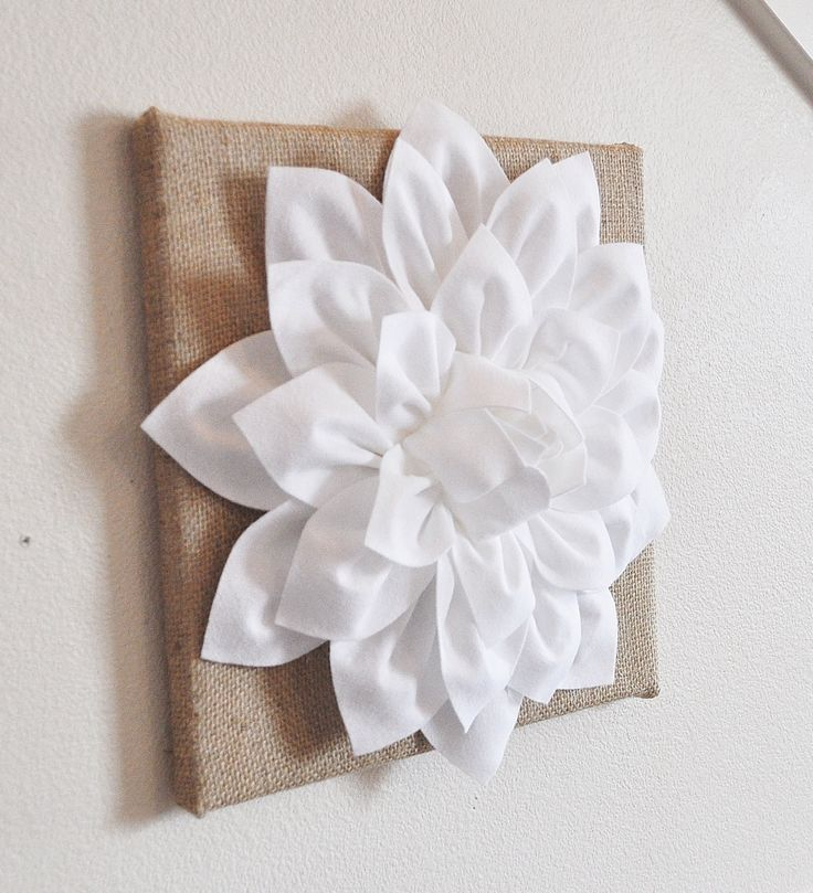 """ALL ITEMS ARE MADE TO ORDER PLEASE SEE SHOP FOR CURRENT CREATION TIME!!! Large White Dahlia Flower on Burlap Canvas 12 x12"""" Wall Hanging. ***Matching and Coordinating Pillows Available Please see Shop"""