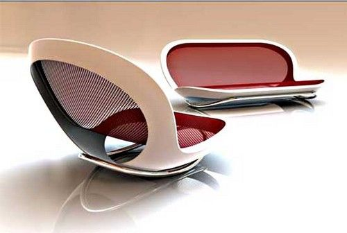 This looks like a giant sunglasses case, but its a rocking couch! how weird!
