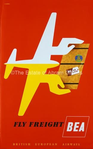 Abram Games Advertising Poster: Fly Freight BEA: designed by Abram Games and first published in 1955.