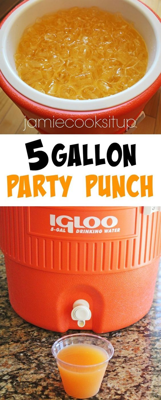 5 Gallon Party Punch from Jamie Cooks It Up! Fantastically fruity and tropical tasting this punch is perfect for large gatherings and will serve 80, 8 ounce servings. Great for birthday parties, family reunions, scout camps, youth conferences and girls camp.