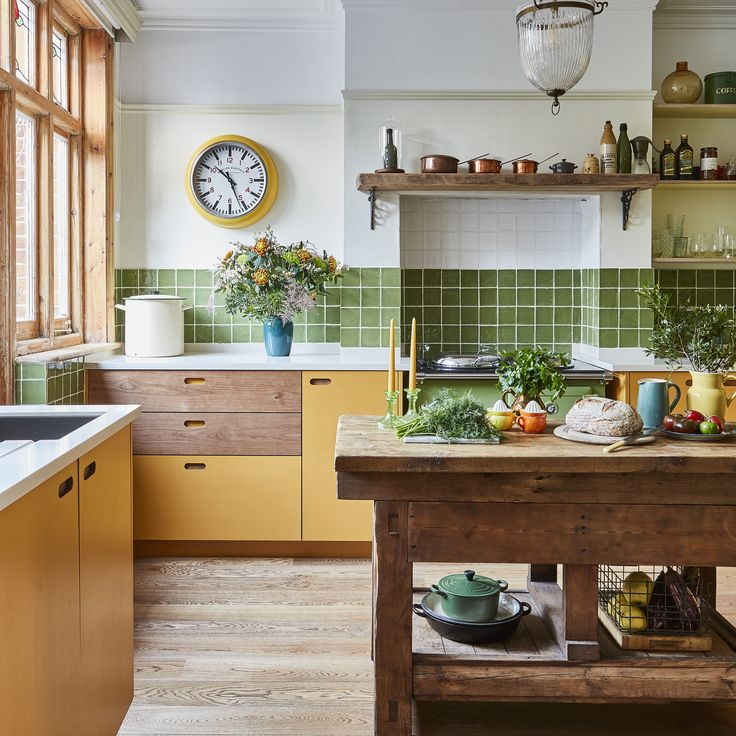 mustard yellow and olive green kitchen designed by Pluck ...