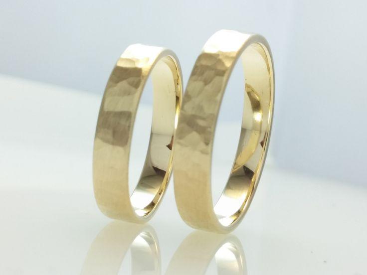 Recycled 14k Gold Wedding Band Ring Set.Brushed Hammered Polish Gold,4mm Wedding Ring Set,His and Her,Eco Friendly,Handmade Wedding Ring Set by Vaptism on Etsy