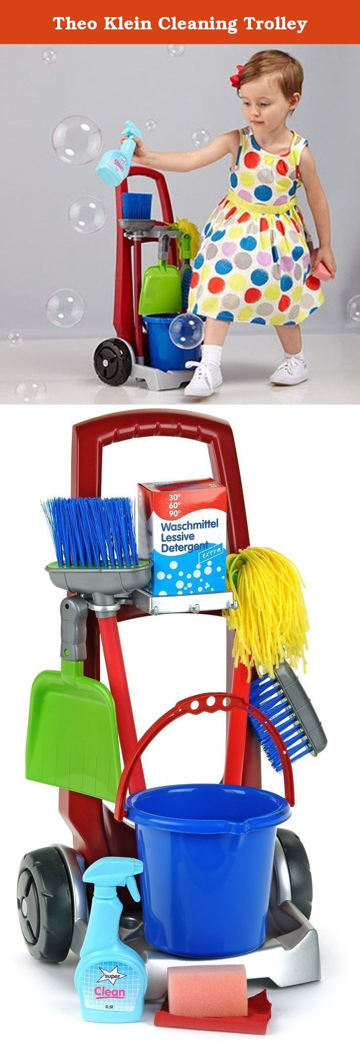 Theo Klein Cleaning Trolley. Child size Cleaning Trolley comes on wheels with bucket, mop, broom, hand broom and pail, sponge, cloth and more.