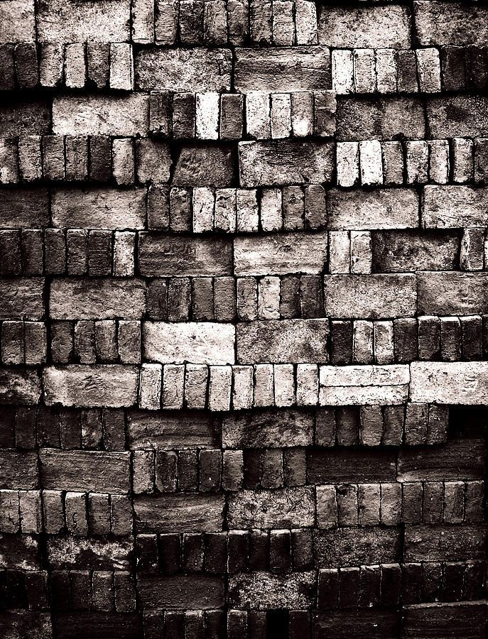 Old Photograph - Sorted Red Bricks In Black And White by Emir Dayan Mende