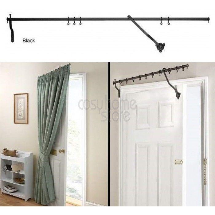 Black rising portiere rod 42 106cm long door curtain for Door curtain pole