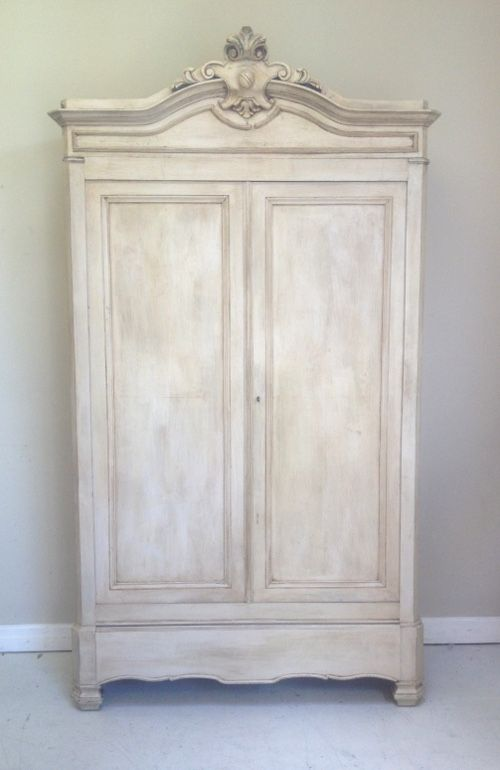 Simle rustic but elegant French antique armoire 1880 / painted & distressed / Frenchfinds.co.uk / french furniture / painted furniture