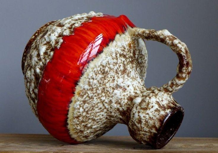 Винтаж 60-70's jopeko керамика 303 жир лава красная ваза западно-германский керамика арт | eBay