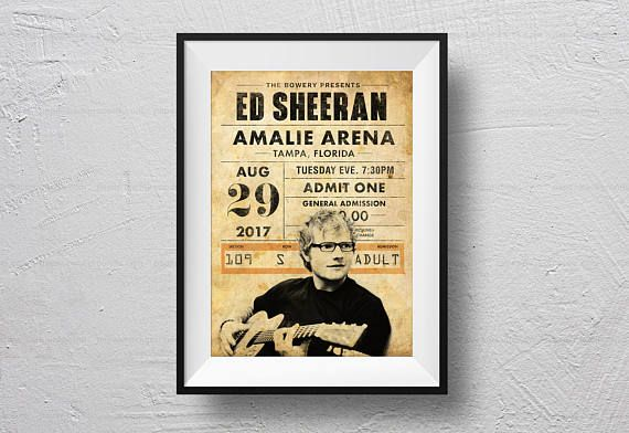 Ed Sheeran Poster concert Ticket Ed Sheeran concert retro