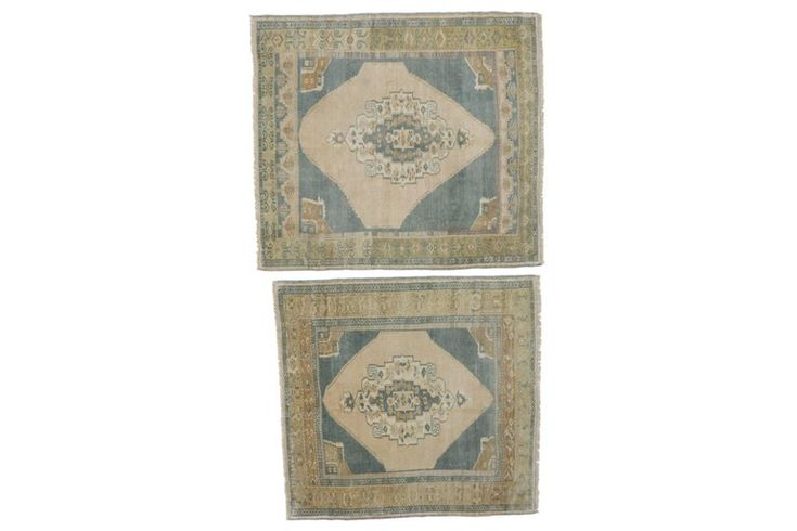 A Matching Pair of Square Oushak Rugs, Two Vintage Turkish Oushak Rugs | From a unique collection of antique and modern turkish rugs at https://www.1stdibs.com/furniture/rugs-carpets/turkish-rugs/