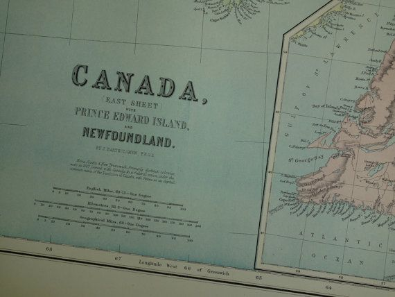 CANADA 140 years old LARGE map of Quebec Nova by VintageOldMaps