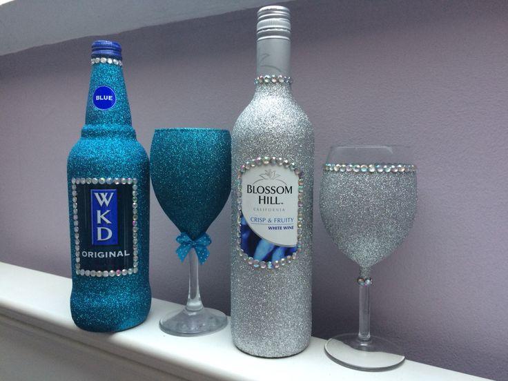 99 best glitter wine glasses images on pinterest wine for How to glitter wine bottles