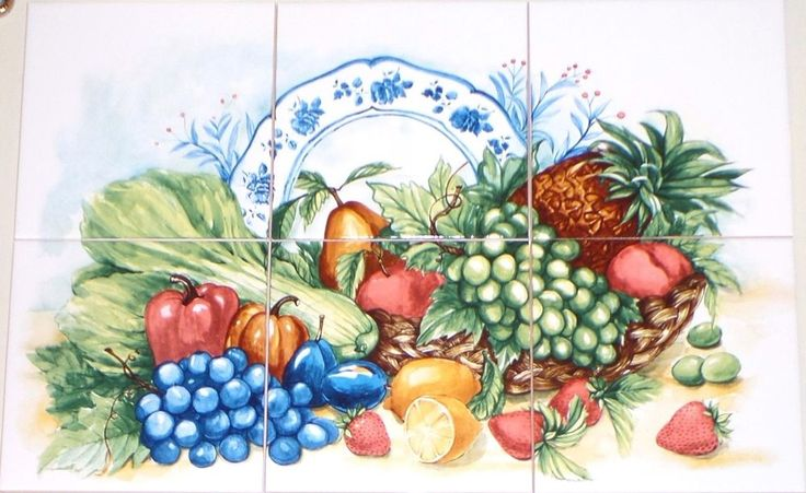 "Fruit and Vegetable Ceramic Tile Mural #2 - 6 of 6"" Kiln Fired Back Splash Decor #Handmade #Farmhouse"