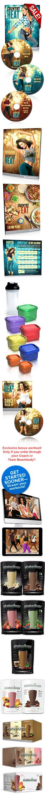 Team Beachbody - Country Heat  The brand new Country Heat challenge packs are out. Can find here:  http://teambeachbody.com/shop/-/shopping/BCPCH160?referringRepId=1070477  If not interested in full challenge pack with the 30 days of Shakeology. Let me know any questions.