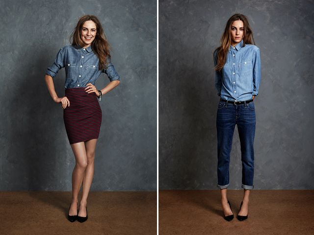 Jack Wills Fall 2013, like that combination of pencil skirt + demin shirt