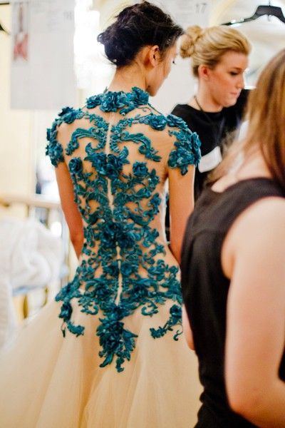 backstage at Marchesa Fall/Winter 2012 ~ via The daily Beast, by Kevin Tachman