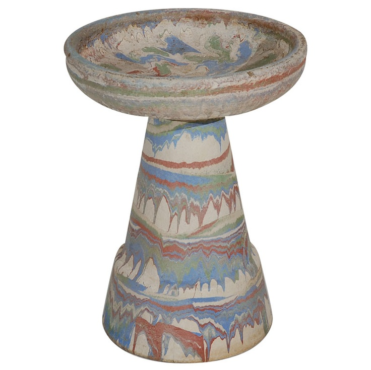 Ozark Roadside Tourist Pottery Colorful Large Birdbath American c. 1950's This is a fantastic piece of Ozark Roadside Tourist Pottery from the Mid 20th century. Nice large scale. The bath and base separate and fit together to form the birdbath.