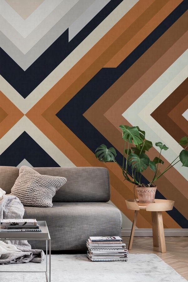 Geometric Bands I Wall Mural From Happywall Mural Modern Wallpapers Abstract Wood Marron Wallmurals Watercolor Wallp Wall Murals Diy Wall Art Interior