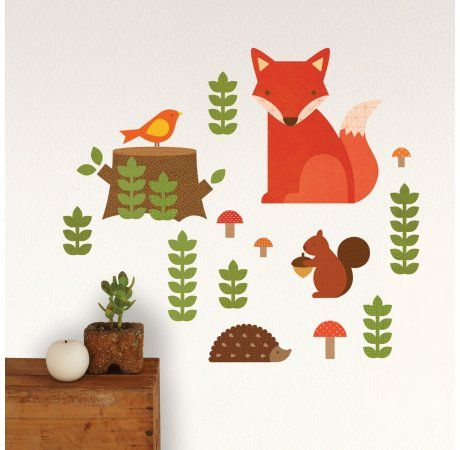 Petit Collage - Wall Decal - Woodland - $69.95 - Stunning Petit Collage Woodland Wall Decal!  Add a story and some colour to your wall with Petit Collage's distinctly patterned fabric wall decals!  This fabric won't rip, wrinkle, or leave residues.  Waterproof and easy to clean, the decals are safe for all non-porous surfaces. #littlebooteek #boys #bedroom #nursery #decor #petitcollage