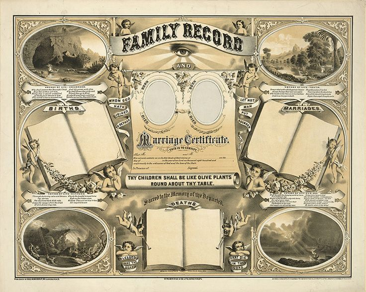 23.	Family Record and Marriage Certificate CREATED/PUBLISHED: c1883. Size 33 x 42 centimeters The original gift will be a family record in the old style. Print out the image you like and frame it. These images you can download high quality file from the site artfamilytree.com