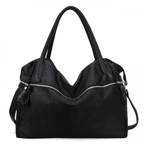 Black Nylon Pure Color Zipper Decor Shoulder Bag
