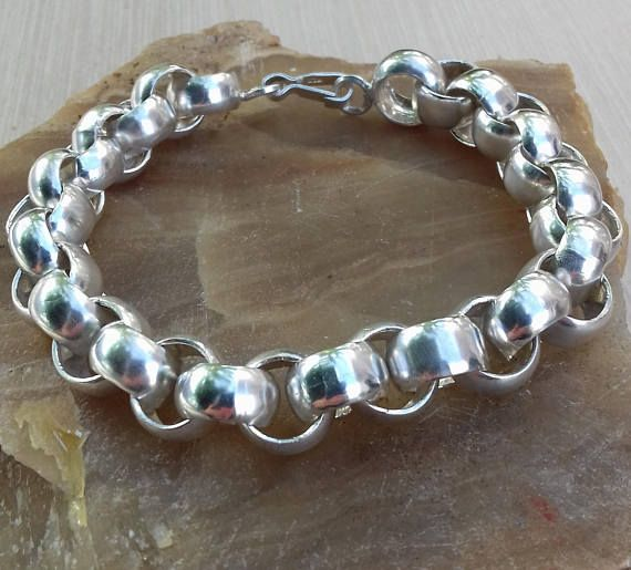 Silver bracelet For Mens Womens Rocker Biker Rolo Tubed