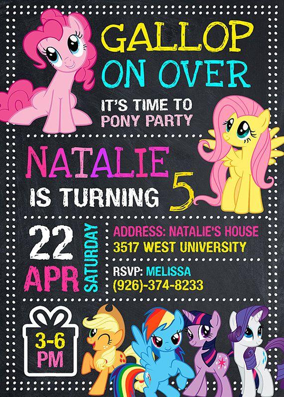 Invitar mi invitación de Pony pequeño el cumpleaños de mi