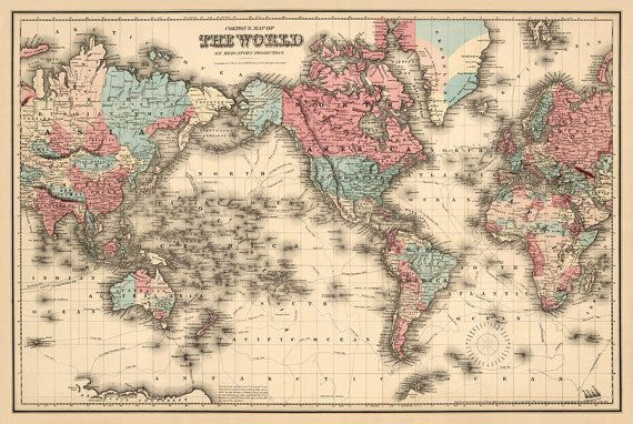 World Map Art Fine Print Wall Map Reproduction Map Of The