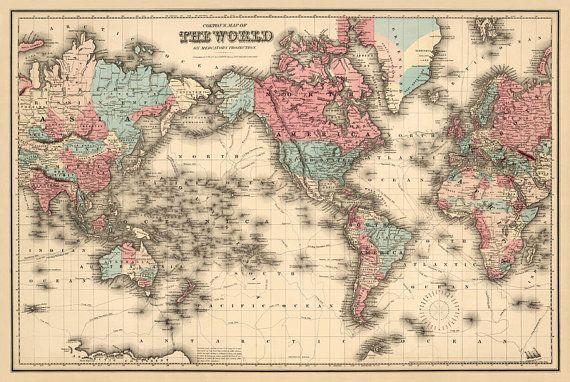 Large Antique World Map Best Antique Decor Ideas - Large vintage world map