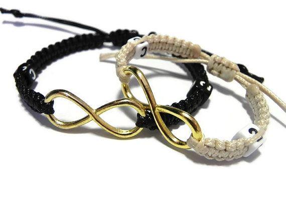 Personalizados pulseras Infinity, que par de pulseras, su ella pulseras, larga distancia relación, regalo de aniversario, encargo inicial